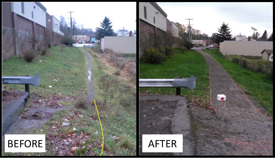Before and After photo of improvements to Rainier Beach Library pathway